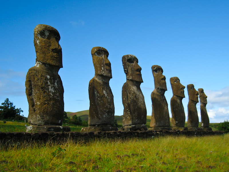 The moais at Ahu Akivi. These are special as they actually look