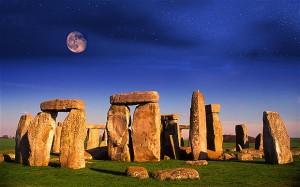 moonrise stars Stonehenge Wiltshire England UK