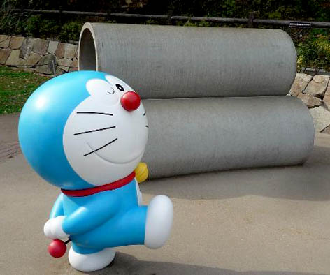 Tumpukan pipa yang sering dijadikan tempat berkumpul karakter Doraemon