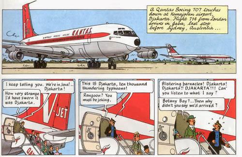 Tintin, Kapten Haddock, dan Prof. Calculus tiba di Jakarta