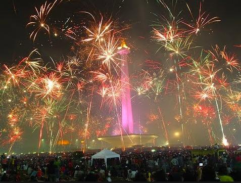 tahun baru di Monas