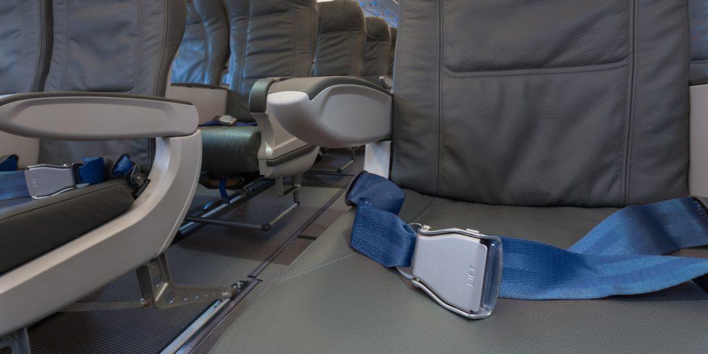 Empty airplane cabin