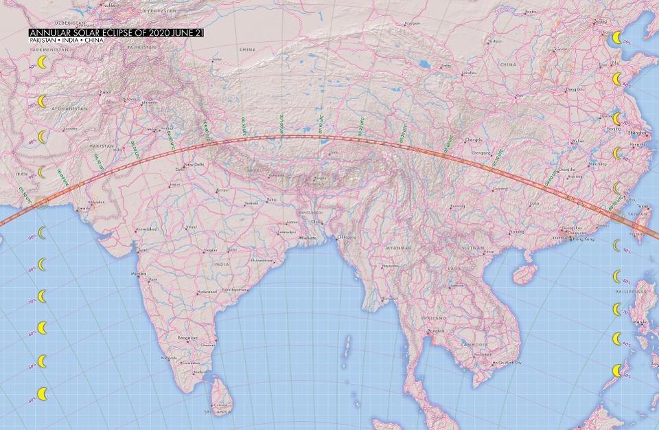 Jalur gerhana matahari cincin melewati Asia pada tanggal 21 Juni 2020